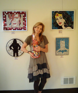 Gretchen with her art Crazy Diamond Mosaics
