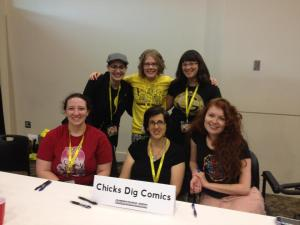 Erica with the Chicks Dig Comics Panel geeking out and sharing in camaraderie