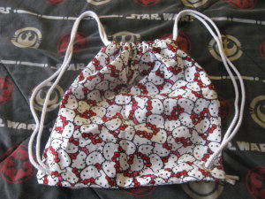 Hello Kitty Drawstring Bag courtesy of Meg of The Force is Strong with this One. (This one is Shubz' favorite!)