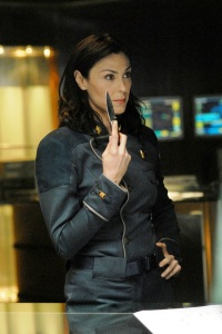 Michelle Forbes as Admiral Cain. SCI FI Channel Photo: Carole Segal