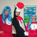 Costumed as Thing 1 for Halloween with my friends Thing 2 and the Cat in the Hat. Photo credit: AJ Dent