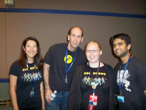 Jex with Kim Evey (producer), Jeff Lewis (Vork), and Sandeep Parikh (Zaboo) of The Guild at PAX '09