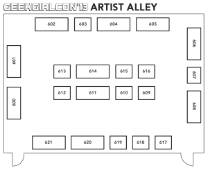 Artist Alley map for GGC 2013